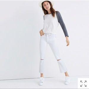 Madewell Cali Demi boot distress edition white
